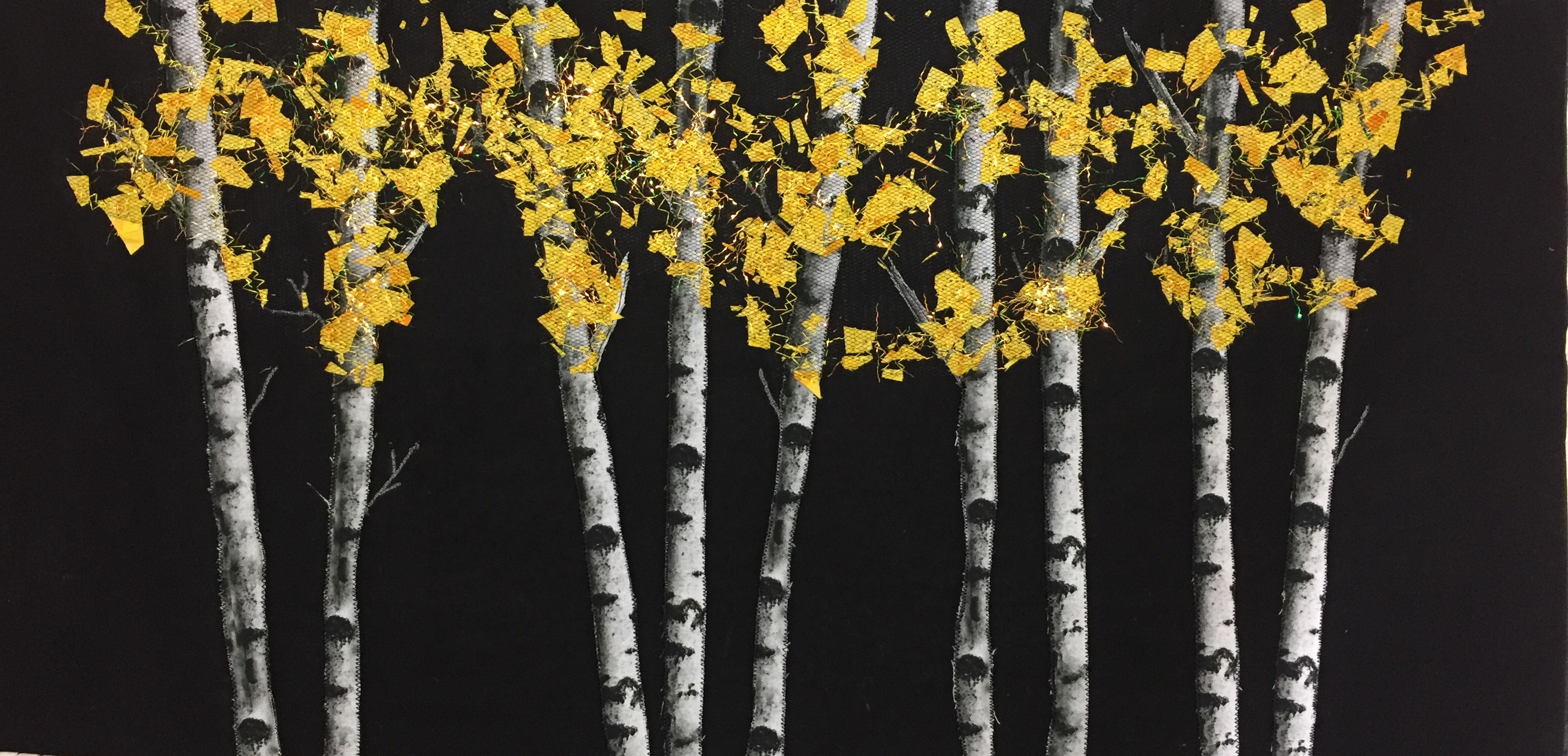 Birch Trees with Golden Leaves by Teresa Schlabach
